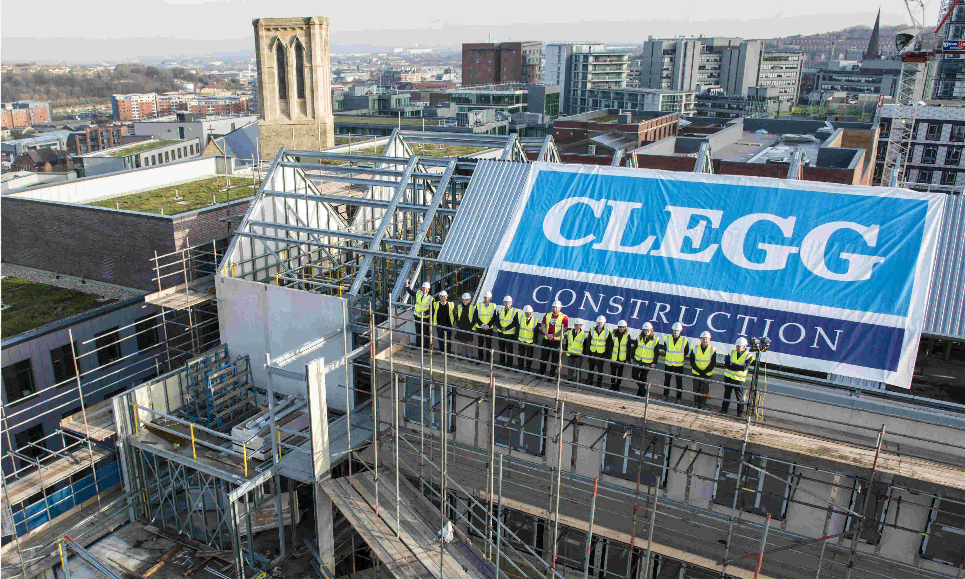 Topping Out celebration of new £35m 'Steel City' student development